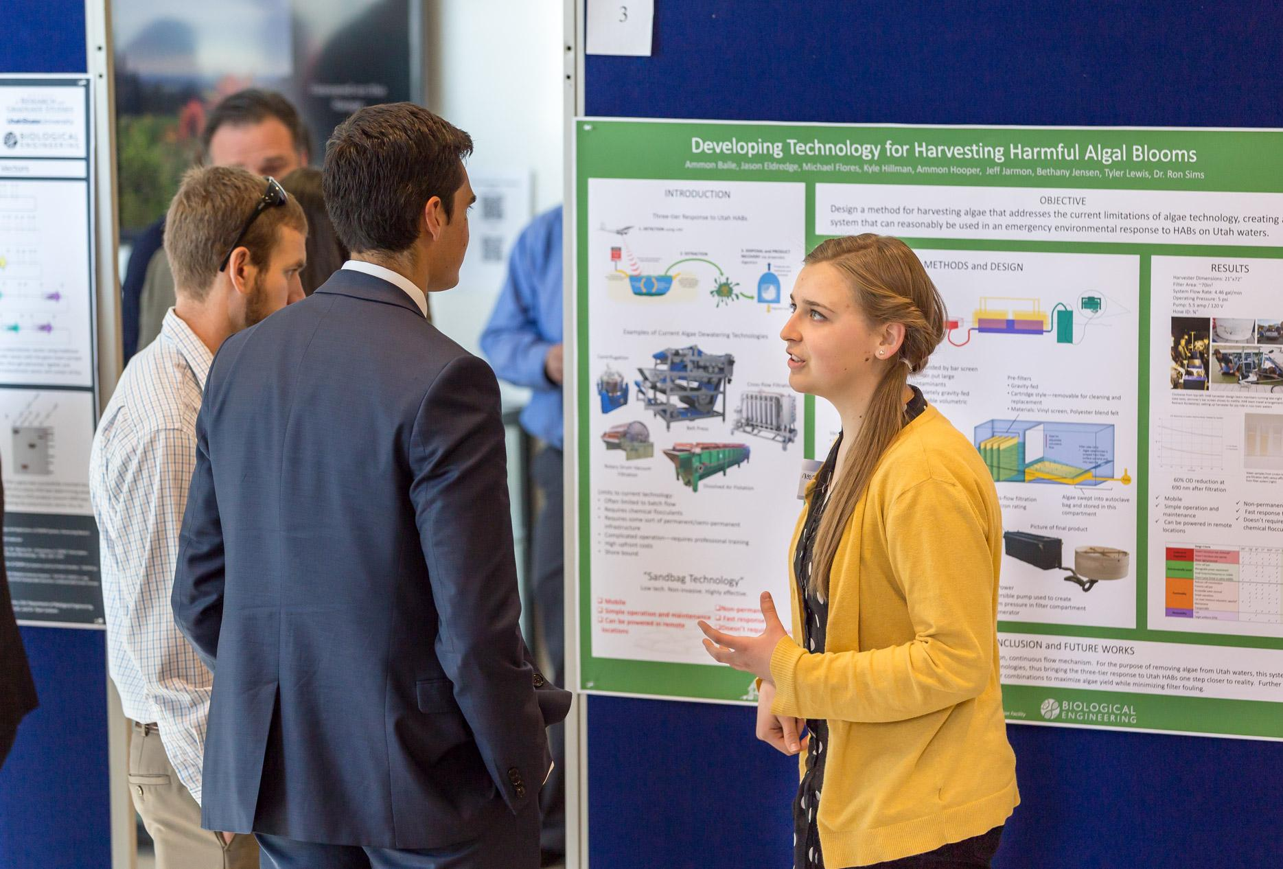 biological engineering student presenting at conference