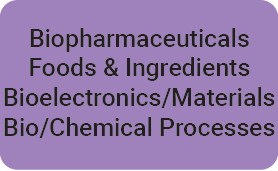 BioPharmaceuticals, Foods & ingredients, Bioelctronics/Materials, Bio/Chemical Processes