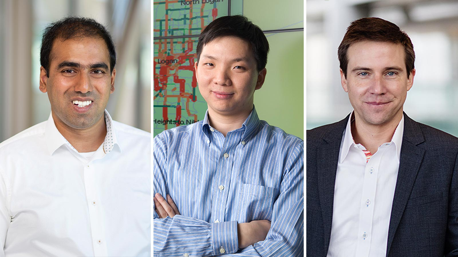 From left: USU professors Abhilash Kamineni, Ziqi Song, and Regan Zane are leading advanced research in vehicle electrification technology.