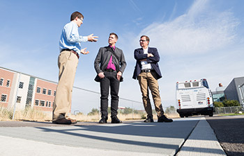 Swedish Transportation Officials Visit USU's Electric Vehicle and Roadway Research Facility