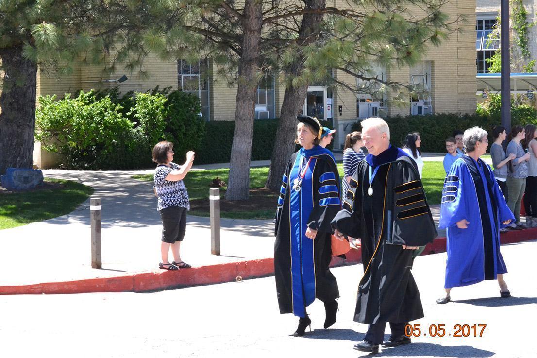 Professors walking down road