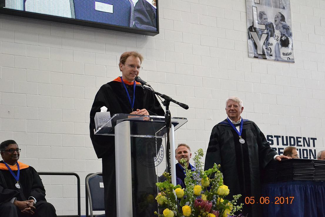 Speaker speaking at podium