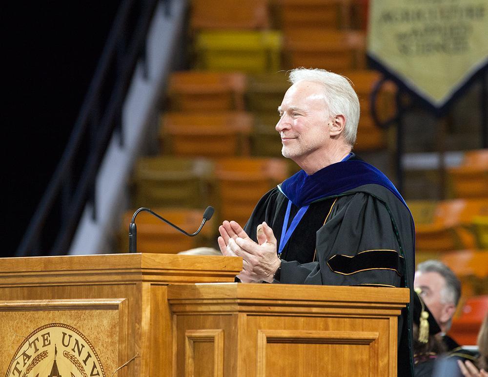 Speaker at podium